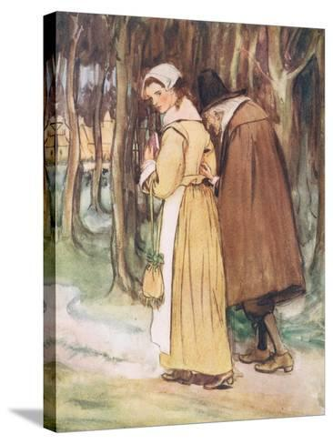 A Young Maiden Glancing at the Scarlet Letter-Hugh Thomson-Stretched Canvas Print