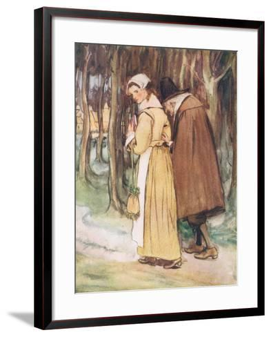 A Young Maiden Glancing at the Scarlet Letter-Hugh Thomson-Framed Art Print