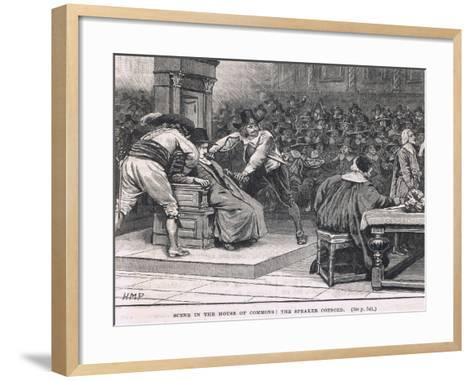 Scene in the House of Commons: the Speaker Coerced 1630-Henry Marriott Paget-Framed Art Print