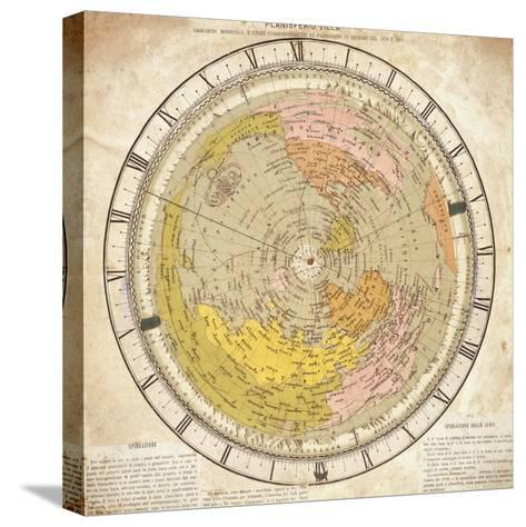 World Clock and Time Lines Indicating Path of Venus from 1874 to 1882, from Villa's Map of World-Ignazio Villa-Stretched Canvas Print