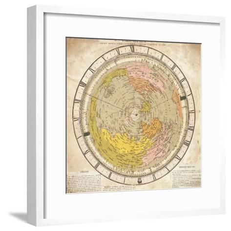 World Clock and Time Lines Indicating Path of Venus from 1874 to 1882, from Villa's Map of World-Ignazio Villa-Framed Art Print