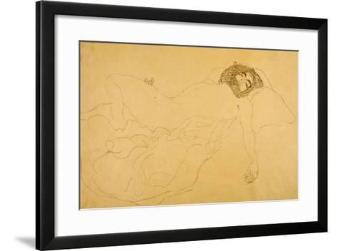 Reclining Nude-Gustav Klimt-Framed Art Print