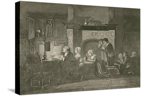 The Grocer and His Family at Prayers-John Franklin-Stretched Canvas Print