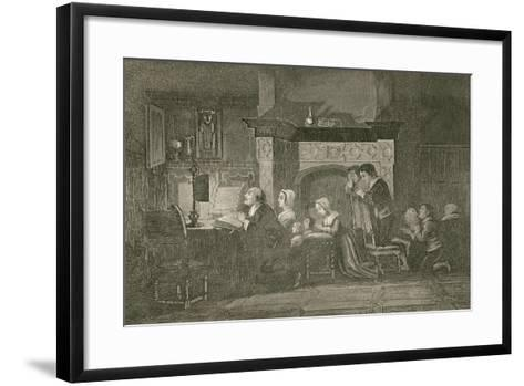 The Grocer and His Family at Prayers-John Franklin-Framed Art Print