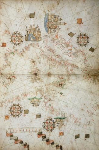Detail of Map of Mediterranean Sea, from Nautical Atlas, 1571-Joan Martines-Stretched Canvas Print