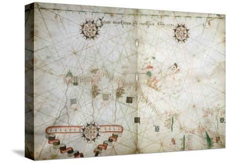 Detail of Map of North East Atlantic, from Nautical Atlas, 1571-Joan Martines-Stretched Canvas Print