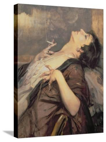 The Pleasure of Smoking-Jean Gouweloos-Stretched Canvas Print