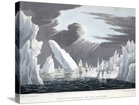 Passage Through the Ice, 16th June 1818, Illustration from 'A Voyage of Discovery...', 1819-John Ross-Stretched Canvas Print