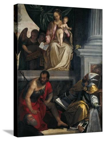 Madonna and Saints with Bevilacqua Lazise Donors-Paolo Caliari-Stretched Canvas Print