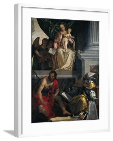 Madonna and Saints with Bevilacqua Lazise Donors-Paolo Caliari-Framed Art Print