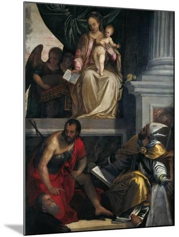 Madonna and Saints with Bevilacqua Lazise Donors-Paolo Caliari-Mounted Giclee Print