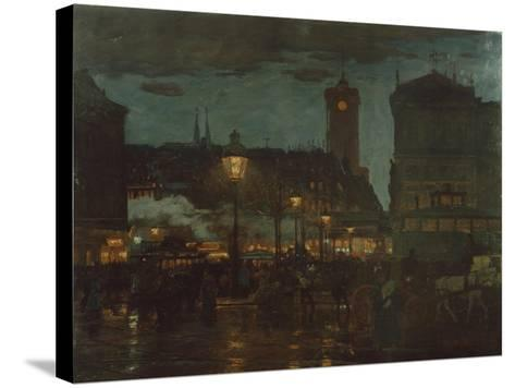 Alexander Square, Berlin, at Night, 1895-Karl Langhammer-Stretched Canvas Print