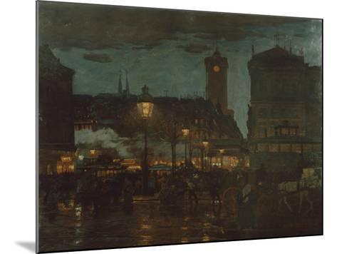 Alexander Square, Berlin, at Night, 1895-Karl Langhammer-Mounted Giclee Print