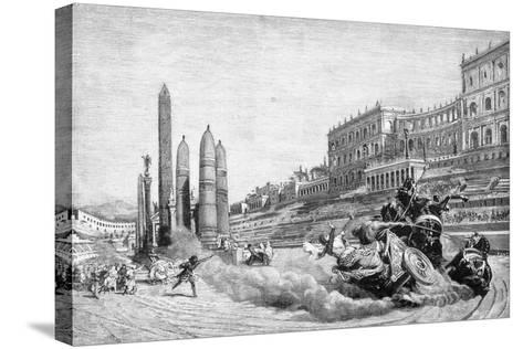 Early History of Rome, Messalina Falls from Her Chariot During a Race at Circus Maximus-Ludovico Pogliaghi-Stretched Canvas Print