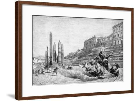 Early History of Rome, Messalina Falls from Her Chariot During a Race at Circus Maximus-Ludovico Pogliaghi-Framed Art Print