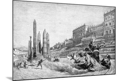 Early History of Rome, Messalina Falls from Her Chariot During a Race at Circus Maximus-Ludovico Pogliaghi-Mounted Giclee Print