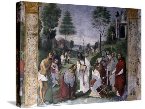 Valerian Being Instructed in Faith by Pope Urban-Lorenzo Costa-Stretched Canvas Print