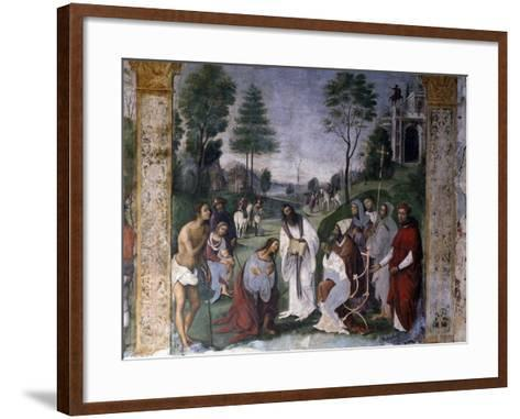 Valerian Being Instructed in Faith by Pope Urban-Lorenzo Costa-Framed Art Print