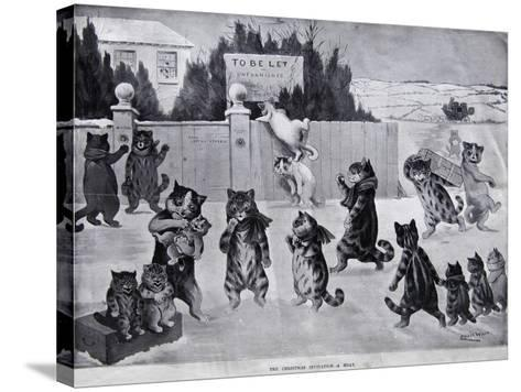 The Christmas Invitation - a Hoax, 1900-Louis Wain-Stretched Canvas Print