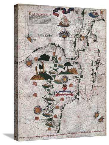 Map of Central and Southern America and Cuba, Hispaniola and Puerto Rico Islands-Lazaro Luis-Stretched Canvas Print