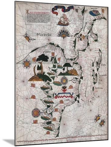 Map of Central and Southern America and Cuba, Hispaniola and Puerto Rico Islands-Lazaro Luis-Mounted Giclee Print