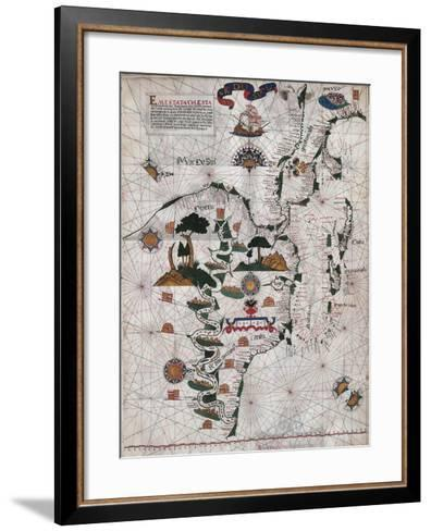 Map of Central and Southern America and Cuba, Hispaniola and Puerto Rico Islands-Lazaro Luis-Framed Art Print