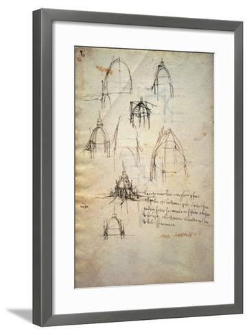 Study for the Dome of the Cathedral of Milan, the Code Trivulzianus, 1478-1490-Leonardo da Vinci-Framed Art Print