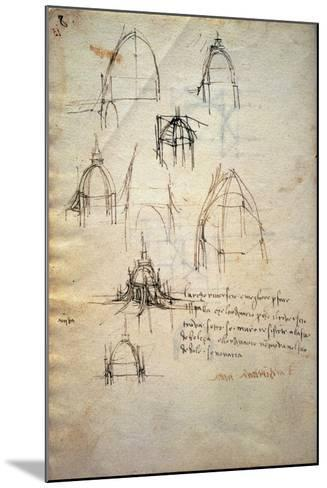 Study for the Dome of the Cathedral of Milan, the Code Trivulzianus, 1478-1490-Leonardo da Vinci-Mounted Giclee Print