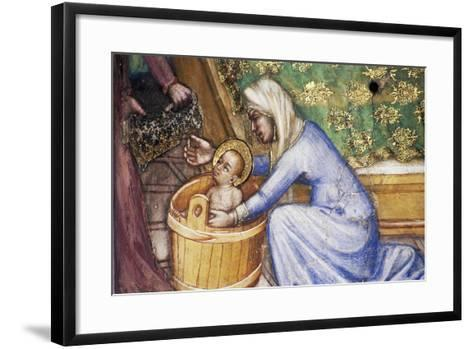 Birth of Mary, Detail from Fresco Cycle Stories of Virgin-Ottaviano Nelli-Framed Art Print