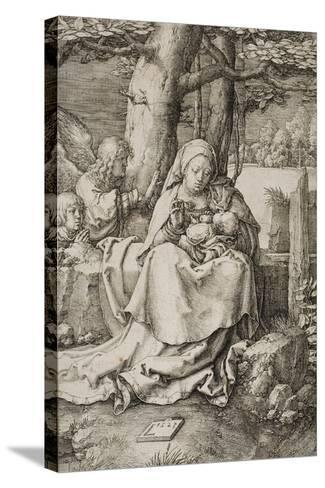 Virgin and Child with Two Angels, 1523-Lucas van Leyden-Stretched Canvas Print