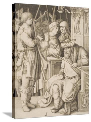 David Playing the Harp before Saul, C.1508-Lucas van Leyden-Stretched Canvas Print