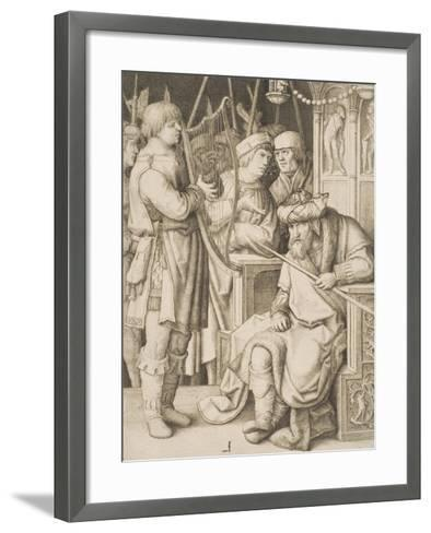 David Playing the Harp before Saul, C.1508-Lucas van Leyden-Framed Art Print