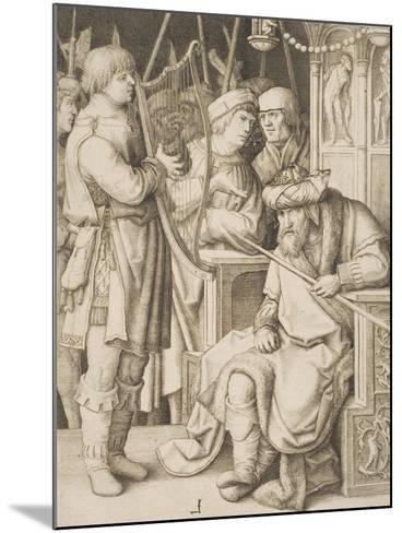David Playing the Harp before Saul, C.1508-Lucas van Leyden-Mounted Giclee Print