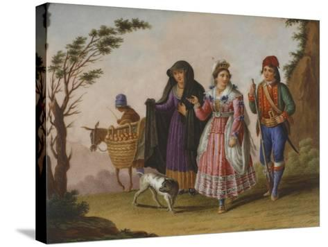 Scenes with Figures in Traditional Costumes-Raffaele Giovine-Stretched Canvas Print