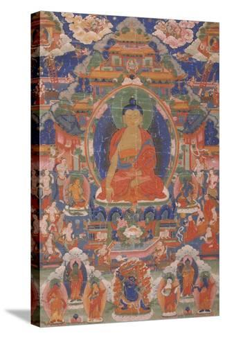 Thangka of Maitreya from Gyangze, Tibet, C.1800--Stretched Canvas Print