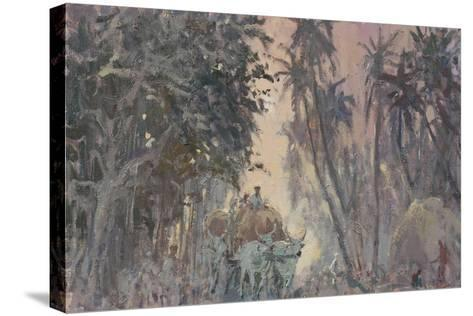 Bullock Carts, Evening Light-Tim Scott Bolton-Stretched Canvas Print