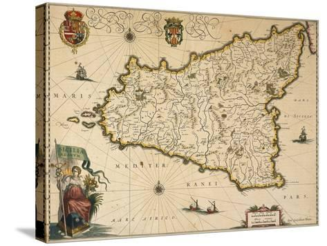 Map of Sicily-Willem Janszoon Blaeu-Stretched Canvas Print
