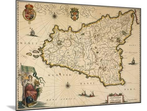 Map of Sicily-Willem Janszoon Blaeu-Mounted Giclee Print