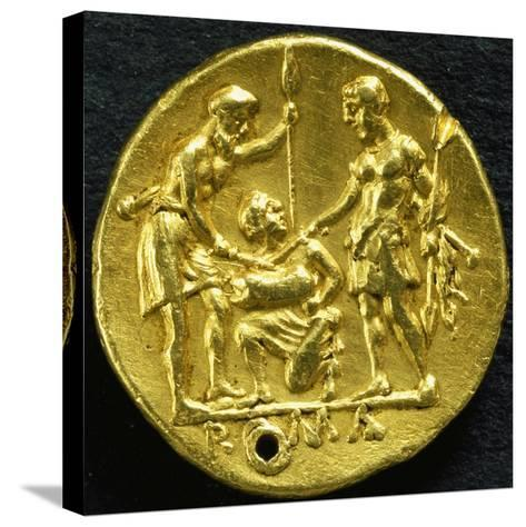 Gold Didramma with Two Warriors Sticking Swords into Pig, 289 BC--Stretched Canvas Print