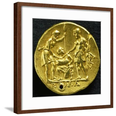 Gold Didramma with Two Warriors Sticking Swords into Pig, 289 BC--Framed Art Print
