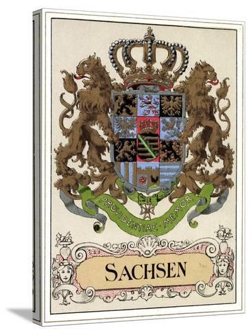 Wappen Litho Sachsen Wettiner, Providentiae Memor--Stretched Canvas Print