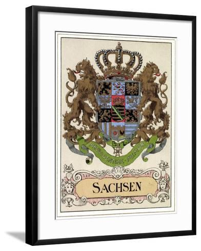 Wappen Litho Sachsen Wettiner, Providentiae Memor--Framed Art Print