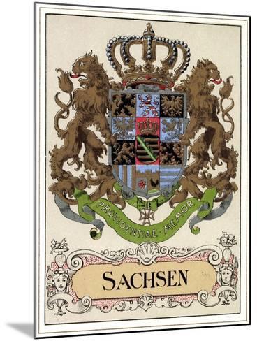Wappen Litho Sachsen Wettiner, Providentiae Memor--Mounted Giclee Print
