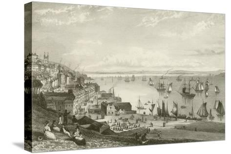 Queenstown Harbour-William Henry Bartlett-Stretched Canvas Print