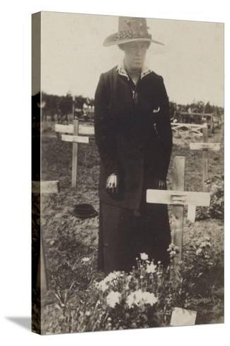Woman Visiting the Grave of a Soldier Killed in the First World War--Stretched Canvas Print