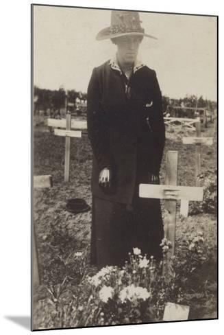 Woman Visiting the Grave of a Soldier Killed in the First World War--Mounted Photographic Print