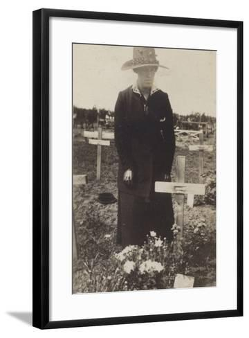 Woman Visiting the Grave of a Soldier Killed in the First World War--Framed Art Print