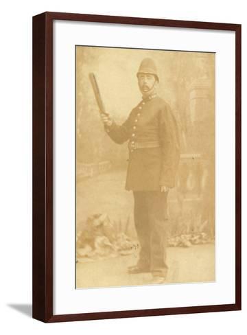 British Policeman Holding His Truncheon--Framed Art Print