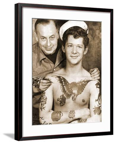 The Tattoo Artist Doc Forbes and His Client, Vancouver, Canada, C.1949--Framed Art Print