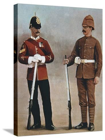 Colour-Sergeant and Private of the Gloucester Regiment Demonstrating 2 Styles of British Uniform--Stretched Canvas Print